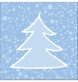 Silhouette of Christmas tree with falling snow vector image