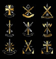 vintage weapon emblems set vintage design vector image