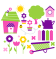Spring village and garden set isolated on white vector image vector image