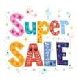 Super sale decorative lettering type design vector image