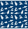 Sharks silhouettes seamless pattern white on blue vector image vector image