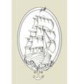 Tattoo ship black and white stencil vector image