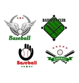 Baseball emblems and badges for sporting design vector image