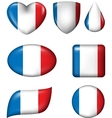 France flag in various shape glossy button vector image
