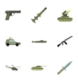 Military weapons icons set flat style vector image