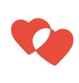 Red hearts pair overlap isolated icon vector image
