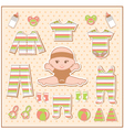 Scrapbook elements with baby clothes vector image