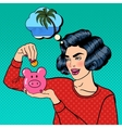 Woman Putting a Coin Into a Money Box Pop Art vector image