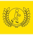 roller skate sportsman flag background design vector image