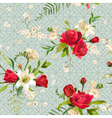 Vintage Rose and Lily Flowers Background Spring vector image