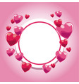 card invitation pink hearts template vector image