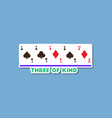 paper sticker on stylish background poker three of vector image