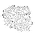 Map of poland from polygonal black lines and dots vector image