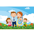 A family at the hills vector image vector image