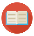 Flat Open Book Circle Icon with Long Shadow vector image