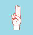 gesture stylized hand with index and middle vector image