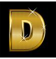 Golden font type letter D vector image