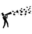 graduate for success with megaphone vector image