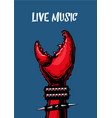 Live music poster with crab claw heavy metall vector image