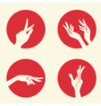 Set with emblems with women hands vector image