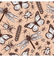Vintage Drawn Insect Seamless Pattern vector image