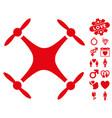 quadcopter icon with valentine bonus vector image