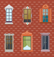 colorful detailed windows flat set vector image