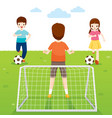father son and daughter playing football game vector image