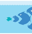 scared cartoon fish vector image