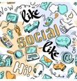 Seamless doodle social media pattern background vector image
