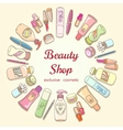 Beauty shop cosmetic label doodle frame vector image