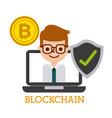 blockchain laptop computer business man bitcoin vector image