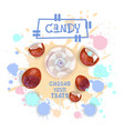 candy coconut lolly dessert colorful icon choose vector image