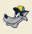 cartoon wolf head wearing cap vector image