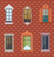 colorful detailed windows flat set vector image