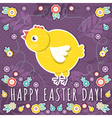 greetings card with easter eggs and one chicken vector image