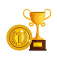 trophy cup with coin award icon vector image