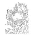 Zentangle stylized butterflies and sakura flower vector image