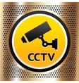CCTV symbol on a golden background vector image vector image