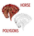 horse red head polygons coloured and outline vector image