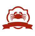 Heraldic border with crab and label vector image