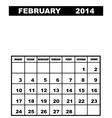 February calendar 2014 vector image vector image