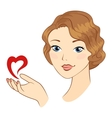 Girl with heart symbol vector image