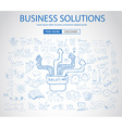 Business Solutions Concept with Doodle design vector image