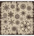 set of different snowflakes over old damaged page vector image vector image