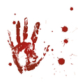 Blood print of a hand and bloodstains vector image