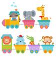 cute animals on train vector image