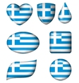 Greece flag in various shape glossy button vector image