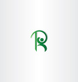 letter r green man logo icon element vector image