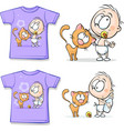 Shirt with Cute Baby and cat - vector image